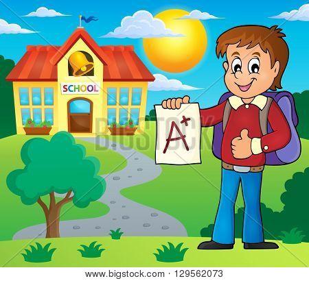 School boy with A plus grade theme 2 - eps10 vector illustration.
