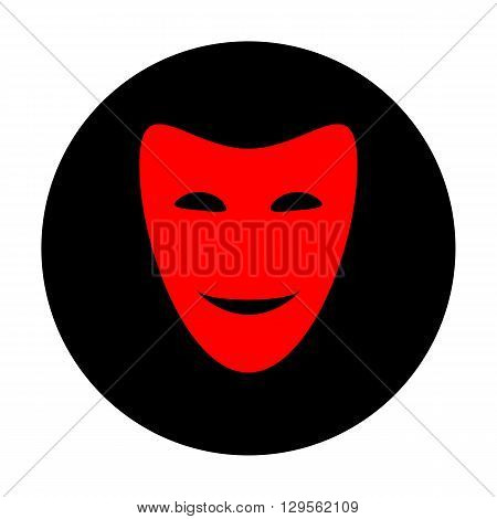 Comedy theatrical masks. Red vector icon on black flat circle.