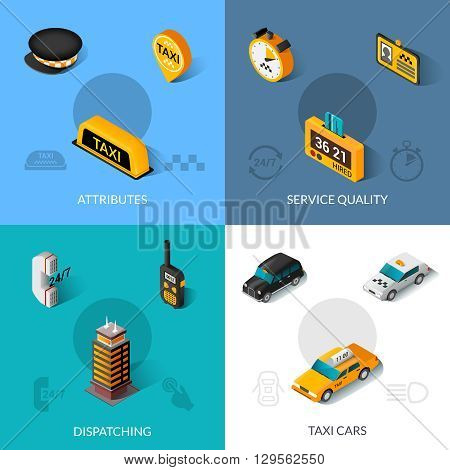Taxi dispatching service quality startup software system 4 isometric icons composition poster with abstract isolated vector illustration