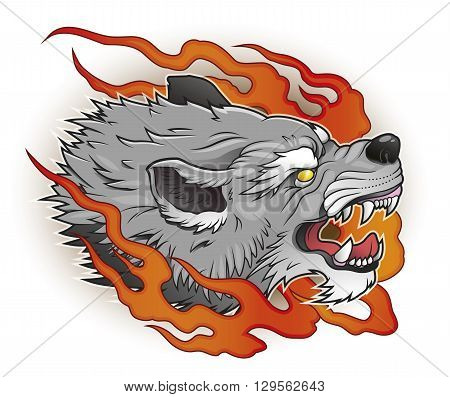 grey angry wolf head in flames vector illustration