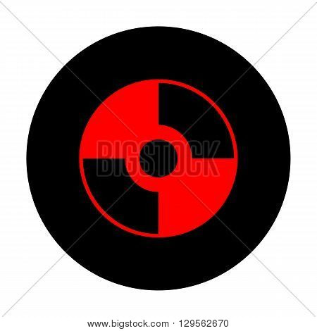 Vector CD or DVD icon. Red vector icon on black flat circle.