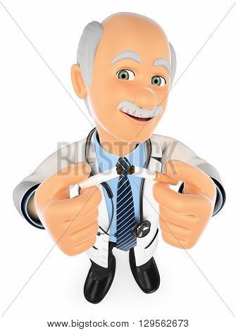 3d medical people illustration. Doctor breaking a cigarette. No Smoking. Isolated white background.