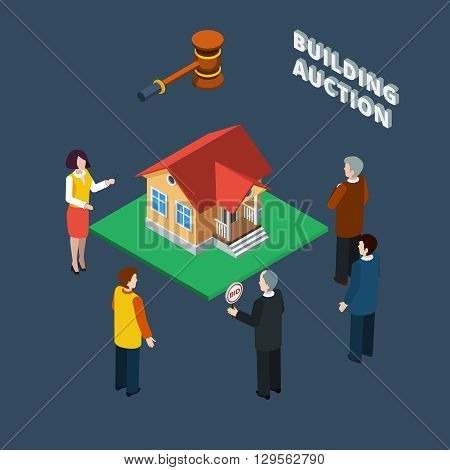 Building auction isometric flat icon set with binding people and female auctioneer vector illustration