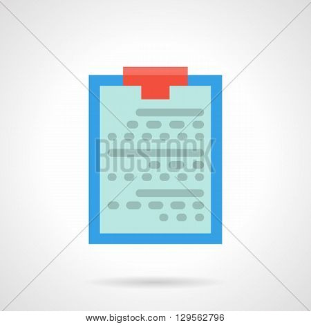 Tablet for notes with red clip. Medical paper, patient information, diagnosis and prescription for treatment.  Flat color style vector icon. Web design element for site, mobile and business.
