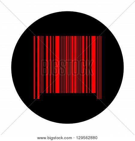 Bar code icon. Red vector icon on black flat circle.