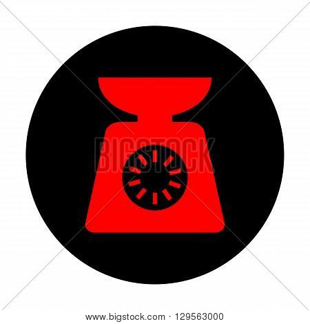Kitchen scales icon. Red vector icon on black flat circle.