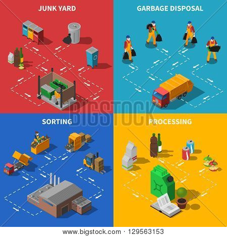 Recycling Isometric Concept. Garbage Icons Set. Waste Recycling Vector Illustration. Garbage Recycling Symbols. Waste Sorting Design Set. Recycling Elements Collection.