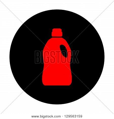 Plastic bottle for cleaning. Red vector icon on black flat circle.