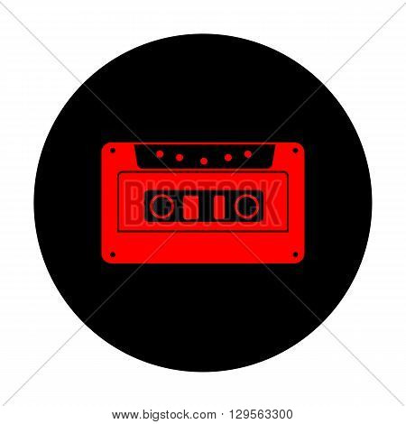 Cassette icon, audio tape sign. Red vector icon on black flat circle.