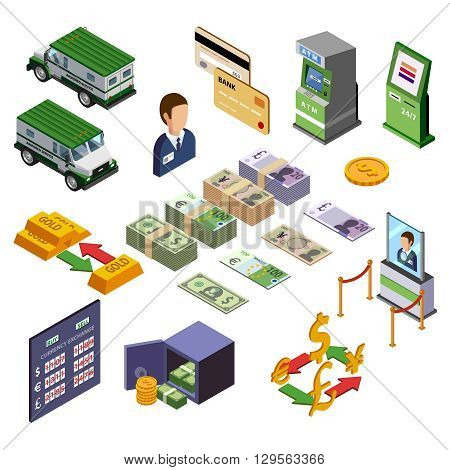 Banking isometric icons set of payment terminal armored trucks credit cards and cash vector illustration