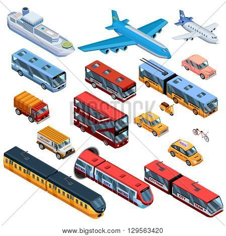 Isometric icons set of air water and land passenger transport with city bus city tram plane and delivery automobile isolated vector illustration