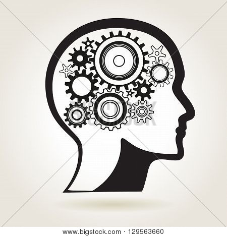 Human head shape with cog wheels idea or technical process or mind solution symbol vector illustration