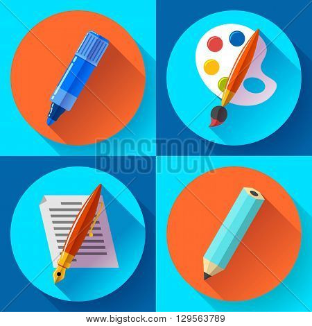 Vector Set of Black Art,  Painting and Drawing Icons. Flat design style.