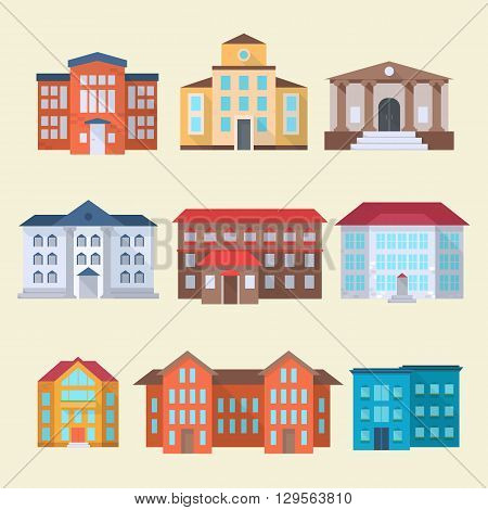 Set of office or administrative buildings outdoor cartoon architecture set vector illustration icons