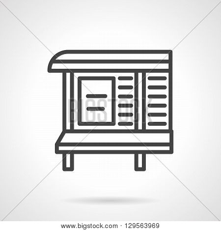 Outdoor advertising board with bench on bus stop. Announcement at transport stations and waiting areas. City commerce. Simple black line vector icon. Single element for web design, mobile app.