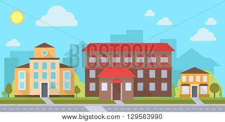 Street with office or administrative buildings outdoor cartoon architecture set vector illustration