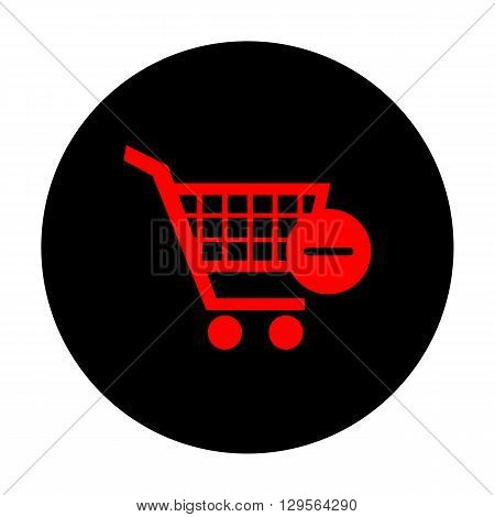 Vector Shopping Cart Remove from Cart Icon. Red vector icon on black flat circle.