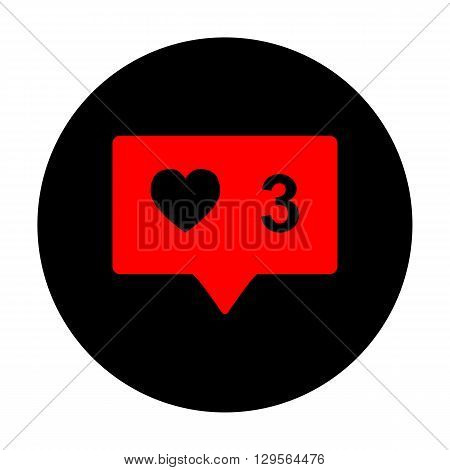 Like and comment sign. Red vector icon on black flat circle.