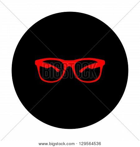 Sunglasses sign. Red vector icon on black flat circle.