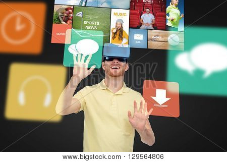 3d technology, virtual reality, entertainment, media and people concept - happy young man in virtual reality headset or 3d glasses playing game over black background with screens and computer icons