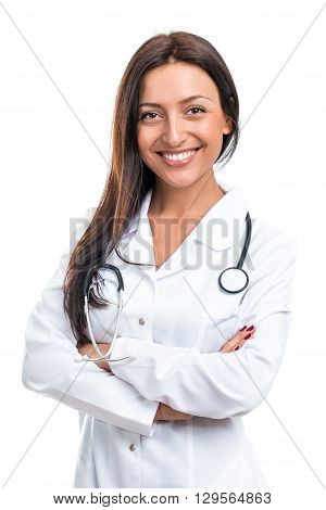 Portrait of a doctor on a white background