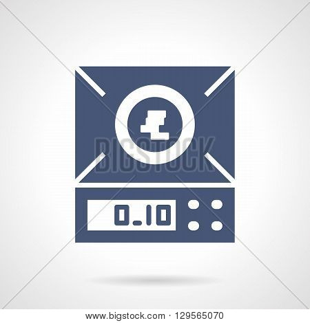 Laboratory measuring equipment. Electronic balance or scales. Chemical research and pharmacy. Symbolic blue glyph style vector icon. Element for web design and mobile.