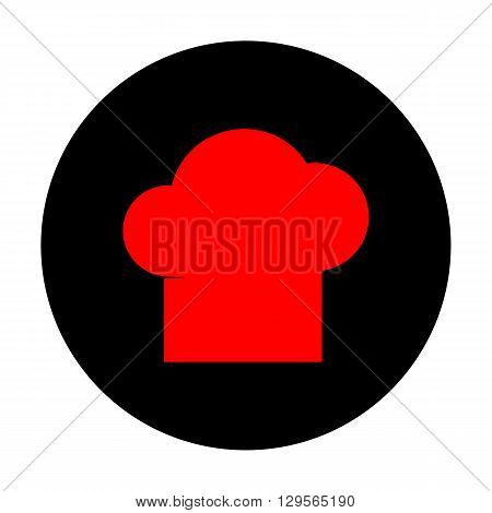 Chef cap sign. Red vector icon on black flat circle.