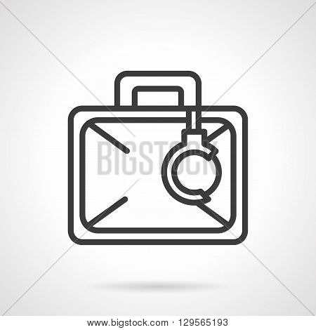 Briefcase with handcuffs. Transportation of important secret baggage, money and documents.  Protection against corruption. Simple black line vector icon. Single element for web design, mobile app.