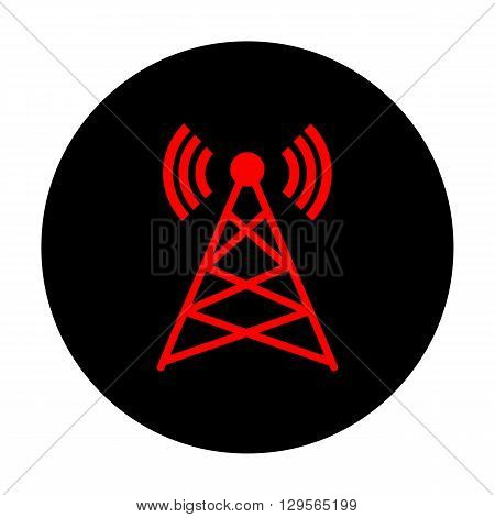 Antenna sign. Red vector icon on black flat circle.