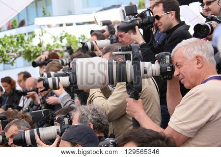 Photographer attends the 'Money Monster' photocall during the 69th annual Cannes Film Festival at the Palais des Festivals on May 12, 2016 in Cannes, France.