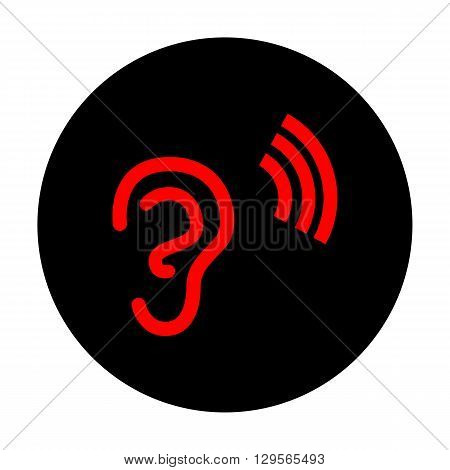Human ear sign. Red vector icon on black flat circle.