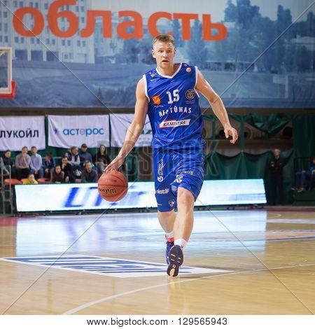 Bc Neptunas Forward Vytautas Sarakauskas (15) With Ball