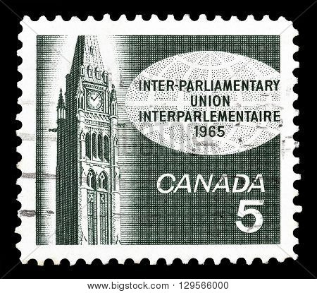 CANADA - CIRCA 1965 : Cancelled postage stamp printed by Canada, that shows Peace Tower in Ottawa.