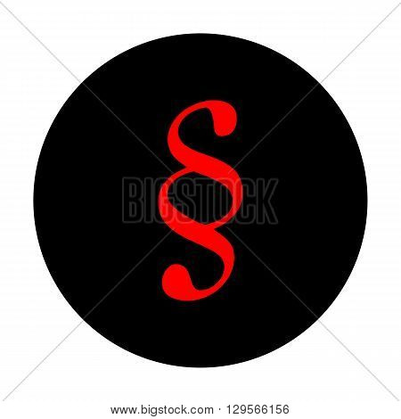 Paragraph sign. Red vector icon on black flat circle.