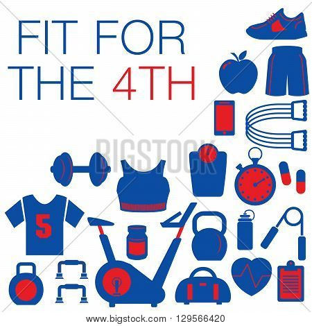 Fit for the 4th -- Fourth of July graphic with space for text