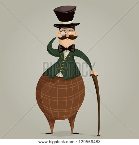 Gentleman with monocle and stick. Funny cartoon character. Vector illustration in retro style