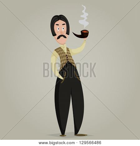 Gentleman with pipe. Funny cartoon character. Vector illustration in retro style