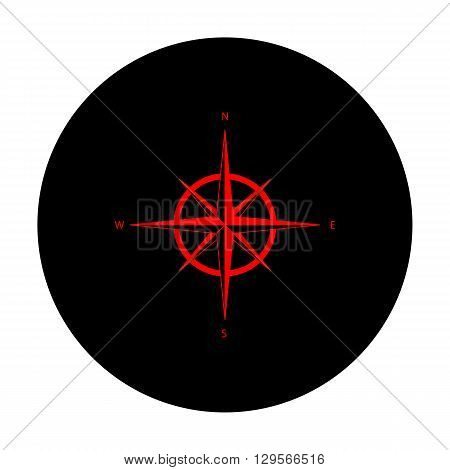 Wind rose sign. Red vector icon on black flat circle.