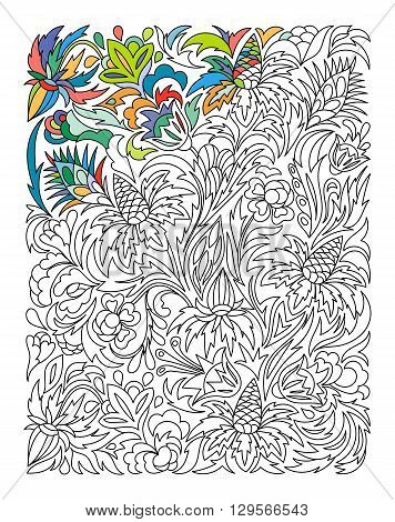 Ethnic colored floral zentangle, doodle background pattern rectangle in vector. Henna paisley mehndi doodles design. Good for cover design. Coloring book page.