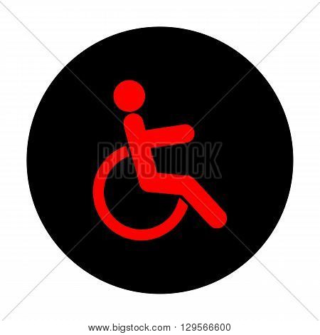 Disabled sign. Red vector icon on black flat circle.