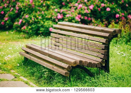Wooden Bench And Flowers In Garden. Beautiful Summer In Park. Instant Toned Image