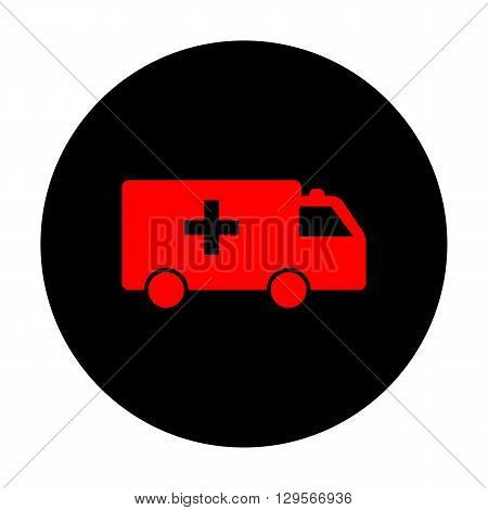 Ambulance sign. Red vector icon on black flat circle.