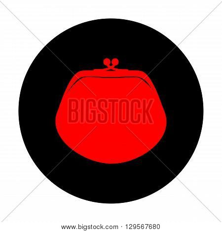 Purse sign. Red vector icon on black flat circle.