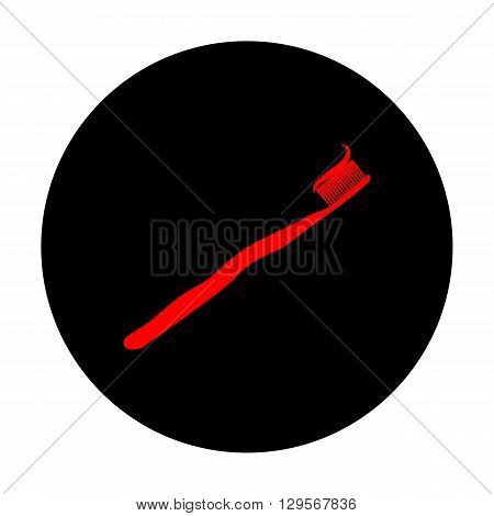 Toothbrush with applied toothpaste portion. Red vector icon on black flat circle.