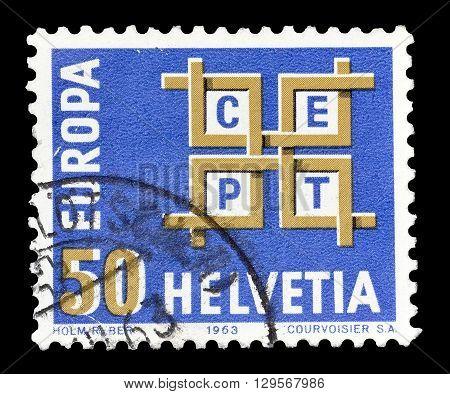 SWITZERLAND - CIRCA 1963 : Cancelled postage stamp printed by Switzerland, that shows Europa CEPT emblem.
