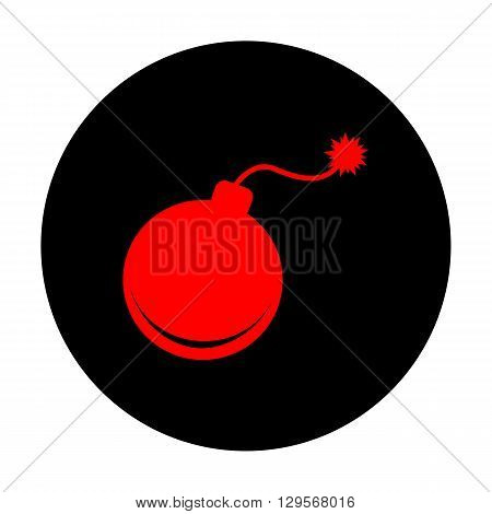 Bomb sign. Red vector icon on black flat circle.
