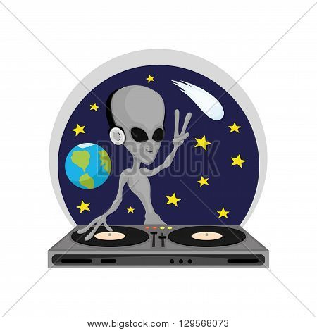Cartoon illustration of alien disc-jockey on a cosmic background.
