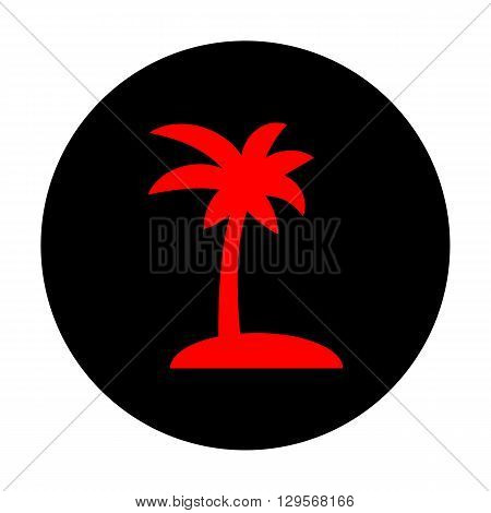 Coconut palm tree sign. Red vector icon on black flat circle.