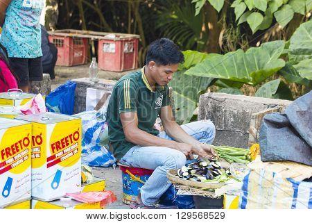 El NIDO, PHILIPPINES - FEB. 12: Village Asian market for the sale of fruit and vegetables El Nido FEB. 12, 2016 in El Nido Philippines.