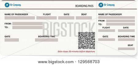 Vector pattern of a boarding pass. Concept of travel, journey or business trip